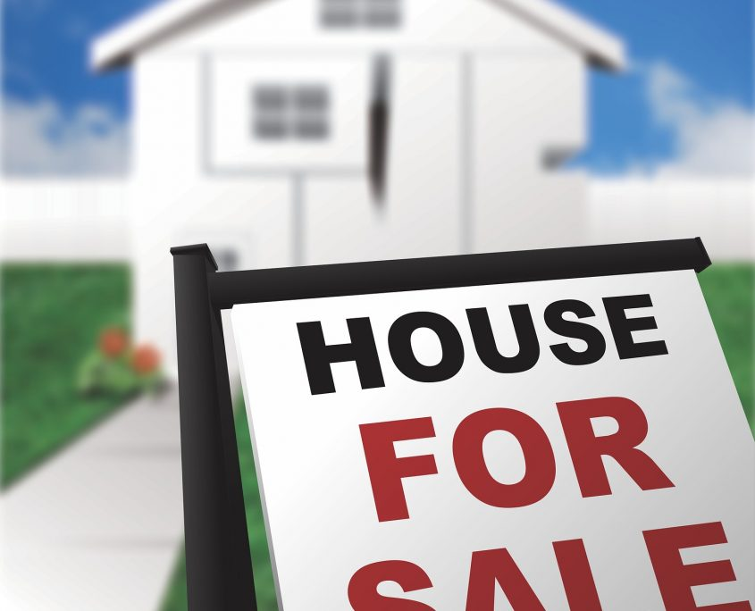house for sale sign in front of white house blue skies green grass - mortgage loans