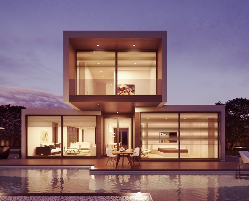 modern home and pool - stacked rectangles - glass walls - Home Loan