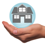 House in Blue bubble in Hand - Mortgage Broker