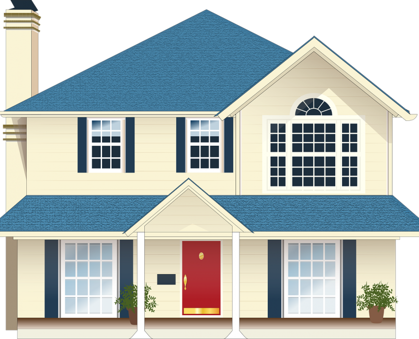 Light yellow house with blue trim and red door - heloc - home equity line credit