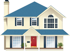 Light yellow house with blue trim and red door -  Refinancing Mortgage with Conventional Loans