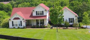 White with red trim Rural Home - Home Loan